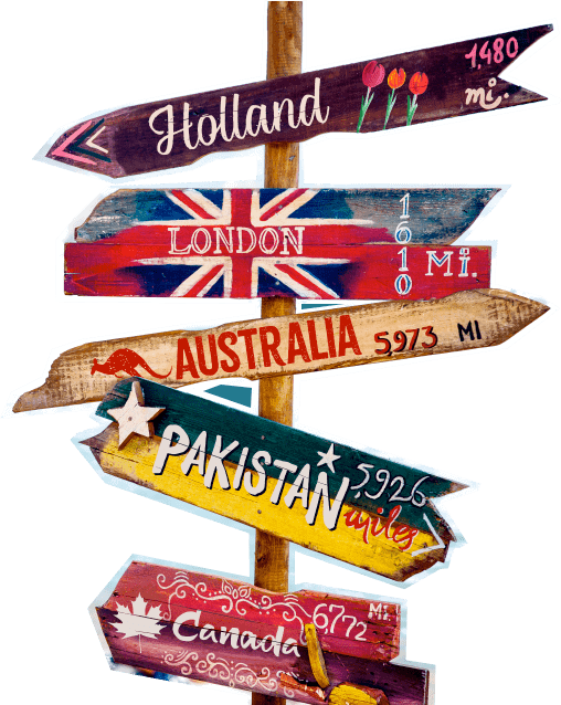 Holland, London, Australia, Pakistan, Canada